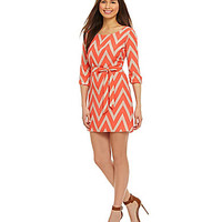 Sequin Hearts 3/4-Sleeve Chevron Dress | Dillards.com