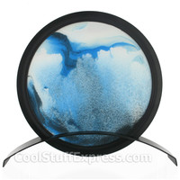Flowing Sand Art Round Tabletop Artwork in Blue, Fun & Unique Gifts