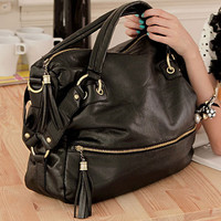 BLACK NEW Fashion Korean Leather Rivet Fringed handbag Big Shoulder Bag #JJ