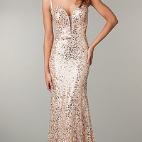 Floor Length Sequin Evening Gown