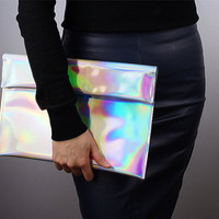 Holographic Oversized Envelope Clutch Bag Metallic Matte Silver Vegan Patent PU Leather Large Purse Handbag Shoulder Satchel Handmade