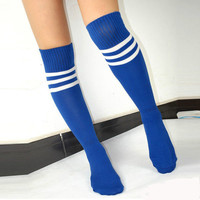 6 Colors Stripe Knee High Tube Cotton Socks Sport Soccer Football Run Stockings