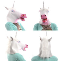 Creepy Animal Head Mask Mythology Fantsy Unicorn Horned Horse Prop Costume