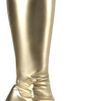 Women's Gold Go Go Costume Boots (Size: 8)