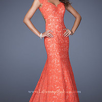 Open Back Floor Length Lace Dress by La Femme