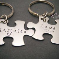 Infinite Love Keychains, Puzzle Piece Keychains, Personalized Gift, Couples Gift, For Him For Her, Valentines Gift, Hand Stamped Keychains