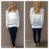 White Stripe Light Knit Sweater Top
