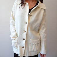 Vintage Cream & Gold Raglan Granny Sailor Cardigan Sweater