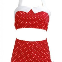 Red Polka Dot Retro White Trim Pin up Women's Swimsuit Swimwear Bikini