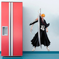 Ichigo Decal - Bleach Heroes and Super heroes Printed and Die-Cut Vinyl Apply in any Flat Surface- Ichigo Kurosaki Wall Art Decor