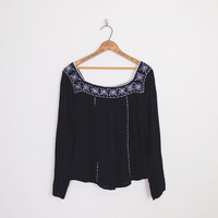 Black Mexican Blouse Mexican Top Mexican Tunic Mexican Shirt Mexican Embroider Blouse Gauze Peasant Blouse 70s Hippie Top Boho Top L Large