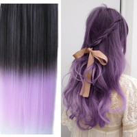 Uniwigs Ombre Dip-dye Color Clip in Hair Extension 60cm Length Black to Light Purple Straight for Fashion Women Tbe0024