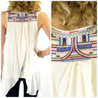 Mexi Maracas Creme Embroidered Tank Top