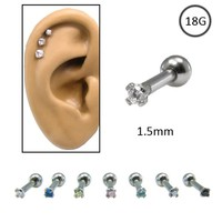316L Surgical Steel Ear Cartilage Forward Helix Rook Tragus Ring Choose Your Color 1.5mm CZ 18G
