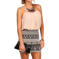 Black/Taupe Bloussant Aztec Dress