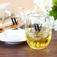 Personalized Bridal Stemless Wine Glasses