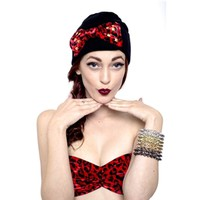 MARIALIA - Black Beanie with Red Cheetah Bow