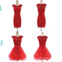 short prom dresses, red prom dresses, lace prom dresses, prom dresses 2014, cheap prom dresses, dresses for prom, RE555