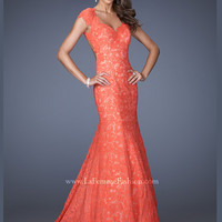 Cap Sleeved Sweetheart La Femme Formal Prom Dress 20117