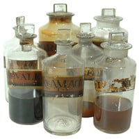 Collection of 7 Victorian Era Apothecary / Chemist Bottles circa 1880