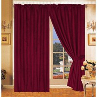 Solid Burgundy Micro Suede Window Curtain / Drape Set with Sheer Backing-treatment Draperies