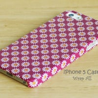 White Daisy - Pink Background iPhone 5 case / iPhone 5S case / iPhone 5C case / iPhone 4 case / iPhone 4S case