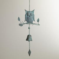VERDIGRIS IRON OWL WIND CHIME