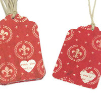 12 Valentines Day Tags - Wedding Favor Tags - Fleur de Lis Tags