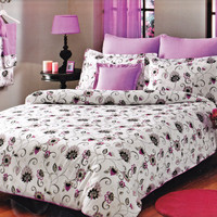 Custom Queen or Full Size Plum Purple and Grey Black Floral Printed on White Backround Bedding Set