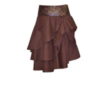 Short Brown Layered Steampunk Skirt