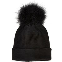 Black Marabou feather pom pom beanie hat