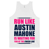 Run For Austin, Austin Mahone Is Waiting For You At The Finish Line Shirt, White American Apparel Tank Top