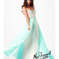 Mac Duggal 2014 Prom Dresses - Aqua Lace Applique Pleated Prom Dress