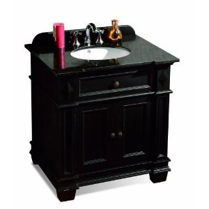 OVE Decors Essex-VB Vanity with Black Marble Countertop with Ceramic Basin, 31-Inch Wide, Espresso