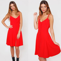 Vintage 90s RED Mini Dress Sleeveless VALENTINE Party Dress
