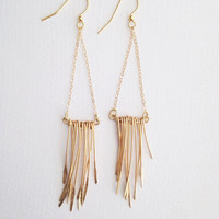 Handmade gold hammered earrings