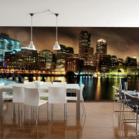 Boston at Night Wall Mural