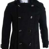 FLATSEVEN Mens Detachable Collar Double Breasted Pea Coat (CT123)