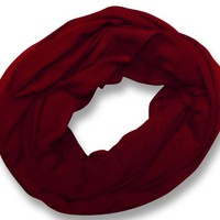 100% Cotton Soft Touch Solid Color Infinity Loop Scarf Scarves Jersey Knit Great Gift