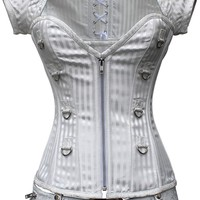White Striped Steampunk Corset