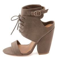 Lace-Up Cut-Out Single Strap Heel by Charlotte Russe - Taupe