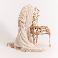 GOLDEN ZEBRA STRIPES on Soft Ivory Knit reversing to Creamy French Faux Fur Framed with Gorgeous Large Tassels . So Soft and Cuddly!
