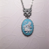 Tiffany Blue White Butterfly Cameo Pendant Necklace