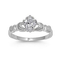 .925 Sterling Silver Claddagh Ring with Clear Cz Heart Stone Size 4,5,6,7,8,9,10; Comes with Free Gift Box