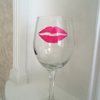 Pink Lips Wine Glass to go with your Mustache Wine Glass - Womens Gift - Housewares - Glassware - Home & Living - Valentine's Gift