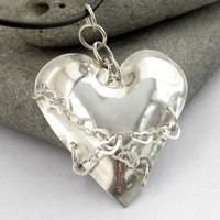 Sterling Heart Pendant Handformed with heart shape chain links unique | Metal_Artistry - Jewelry on ArtFire