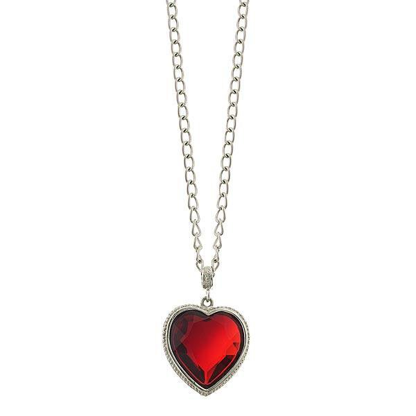 Long Red Crystal Swarovski Heart Necklace