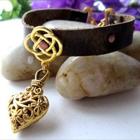 Antique Gold Pewter Fancy Heart Charm Celtic Knot Leather Bracelet