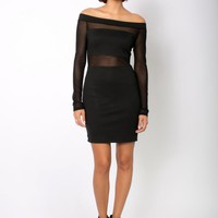 Black Long Sleeve Off The Shoulder Dress with Mesh Contrast