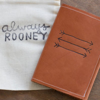 Brown Leather Passport Cover With Arrow Design